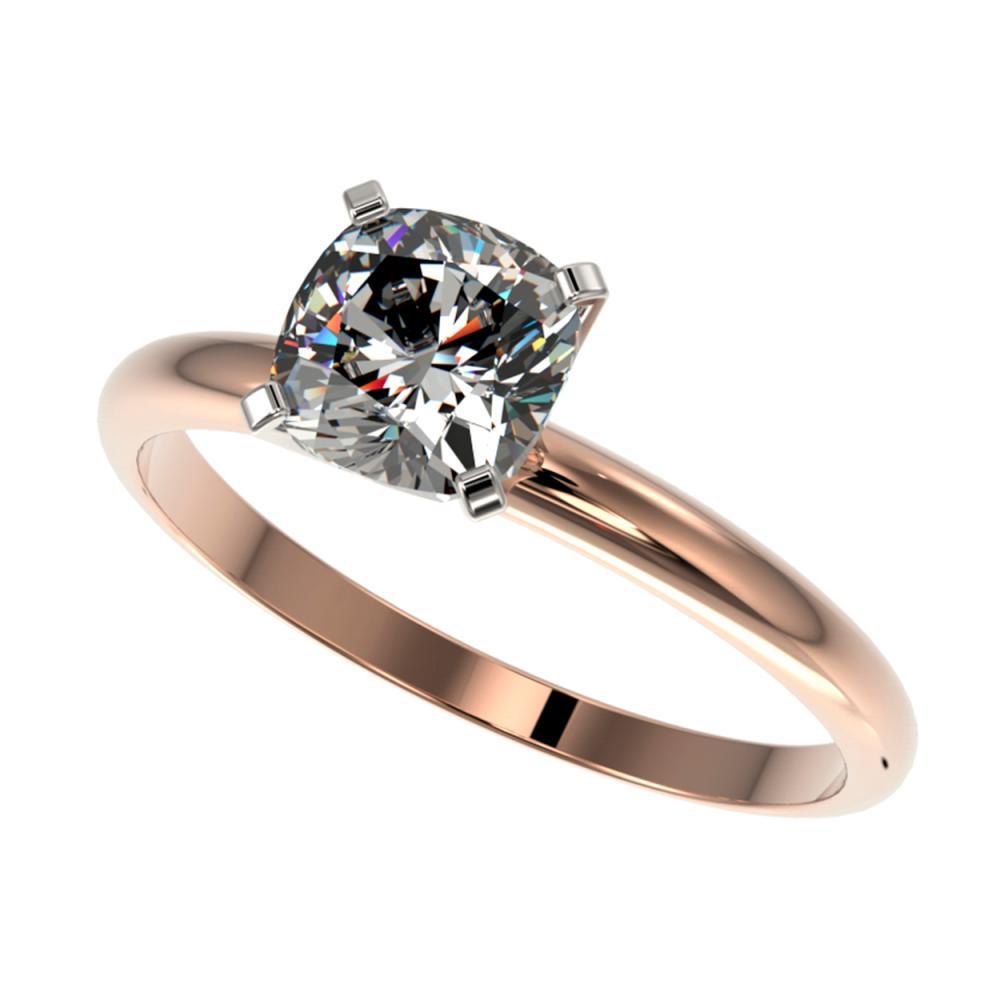1 ctw VS/SI Cushion Cut Diamond Ring 10K Rose Gold - REF-297W2H - SKU:32901