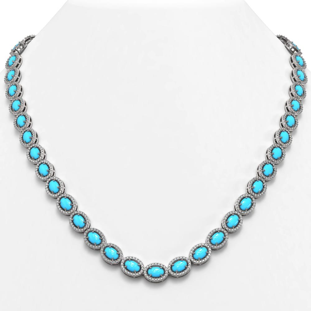 25.51 ctw Turquoise & Diamond Halo Necklace 10K White Gold - REF-500V7Y - SKU:45992