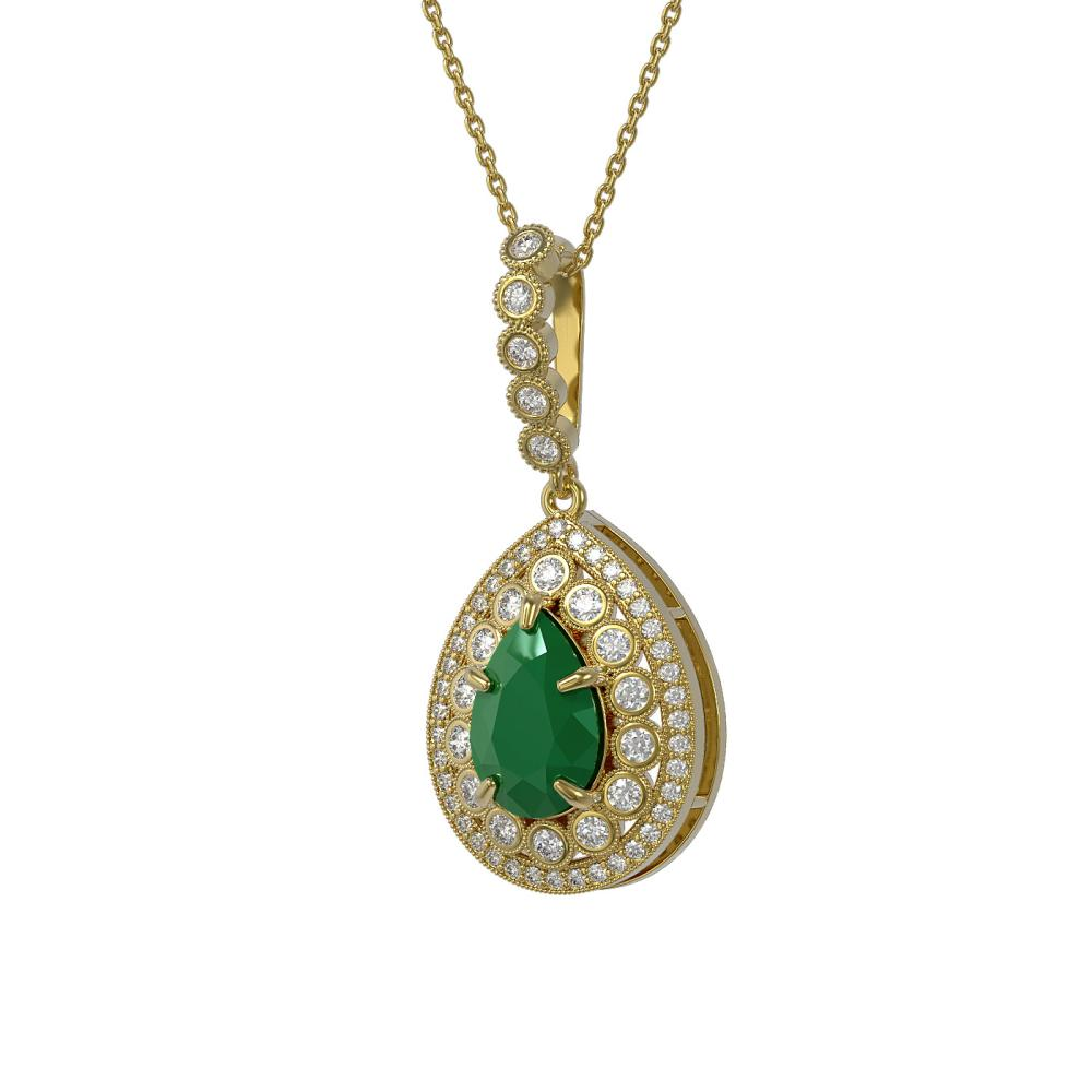 4.97 ctw Emerald & Diamond Necklace 14K Yellow Gold - REF-147A3V - SKU:43201
