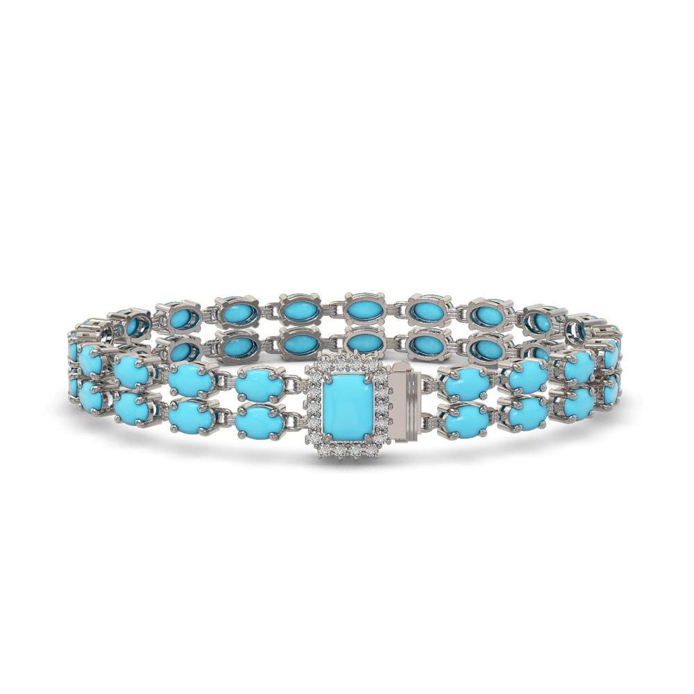 13.04 ctw Turquoise & Diamond Bracelet 14K White Gold - REF-165V3Y - SKU:45758