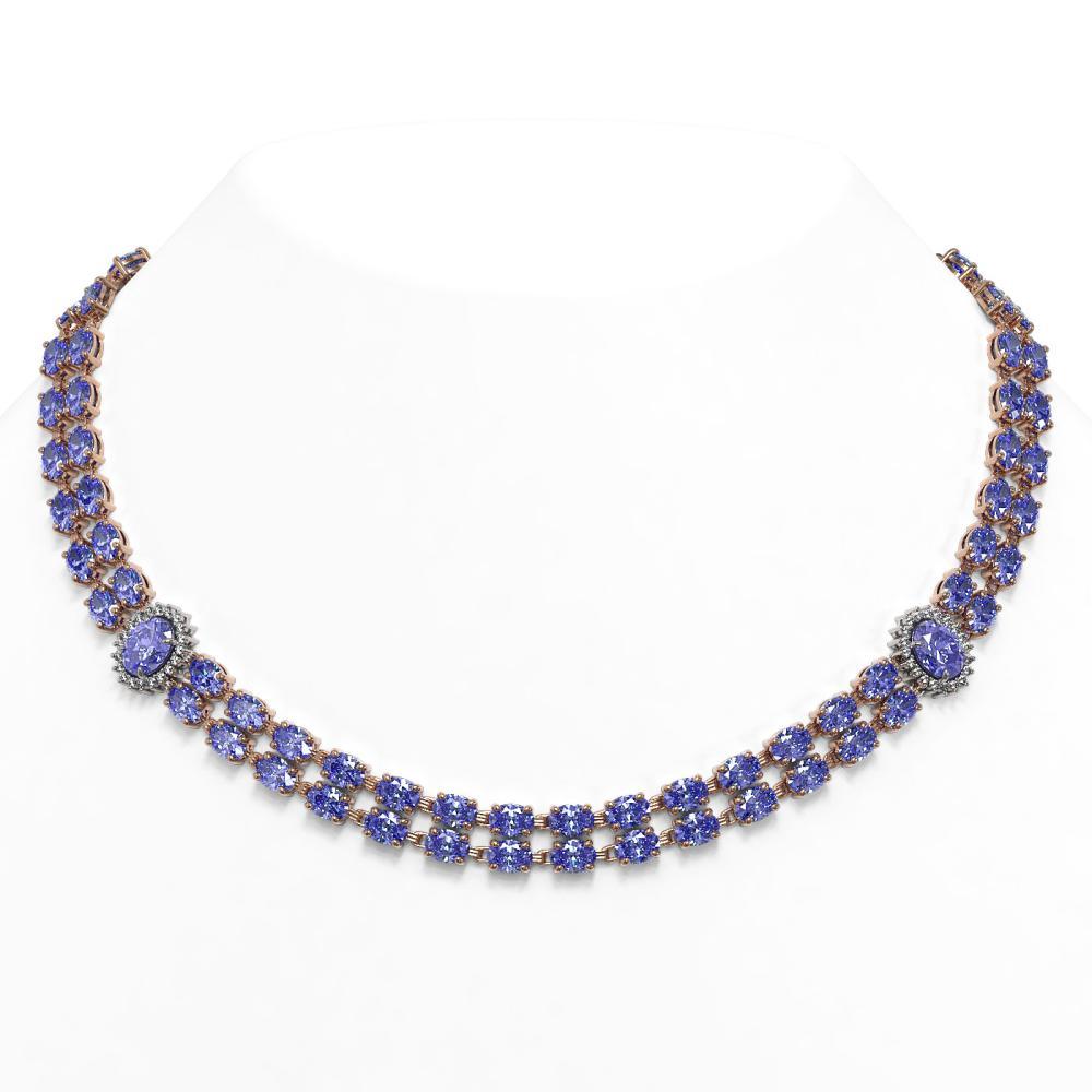 36.19 ctw Tanzanite & Diamond Necklace 14K Rose Gold - REF-473N6A - SKU:44178