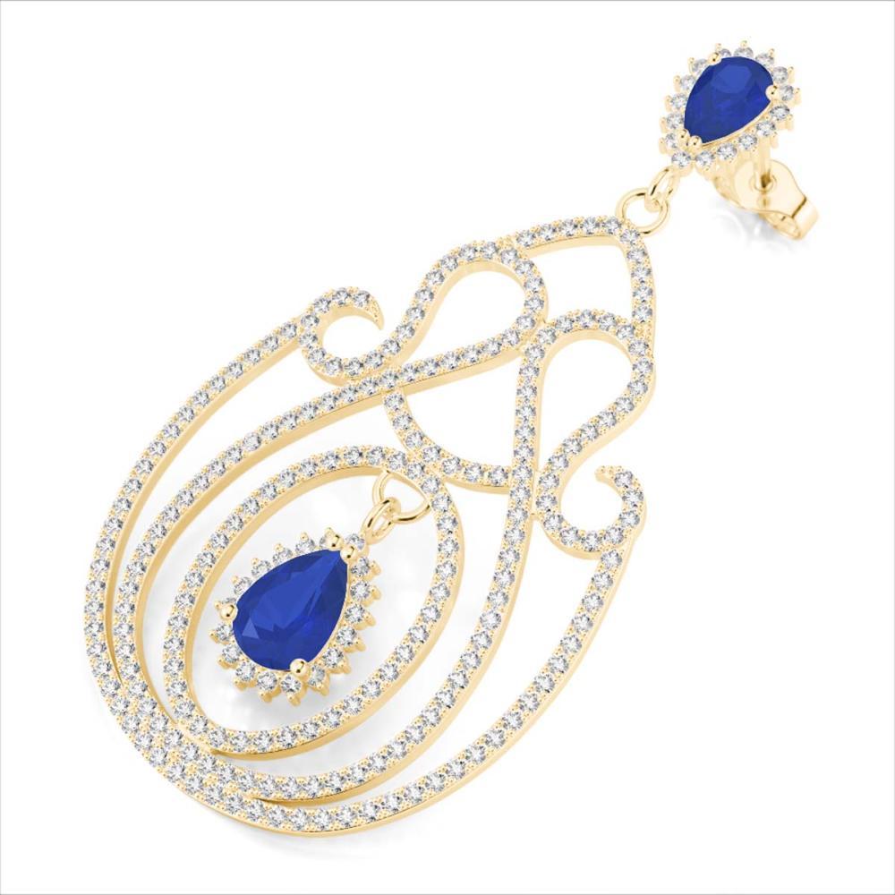6.40 ctw Sapphire & VS/SI Diamond Earrings 14K Yellow Gold - REF-381H8M - SKU:22430