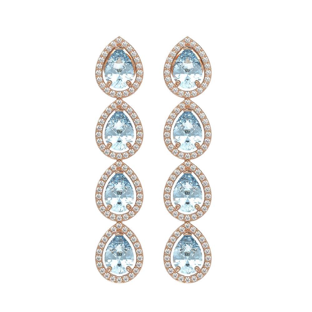 7.41 ctw Aquamarine & Diamond Halo Earrings 10K Rose Gold - REF-169W6H - SKU:41163