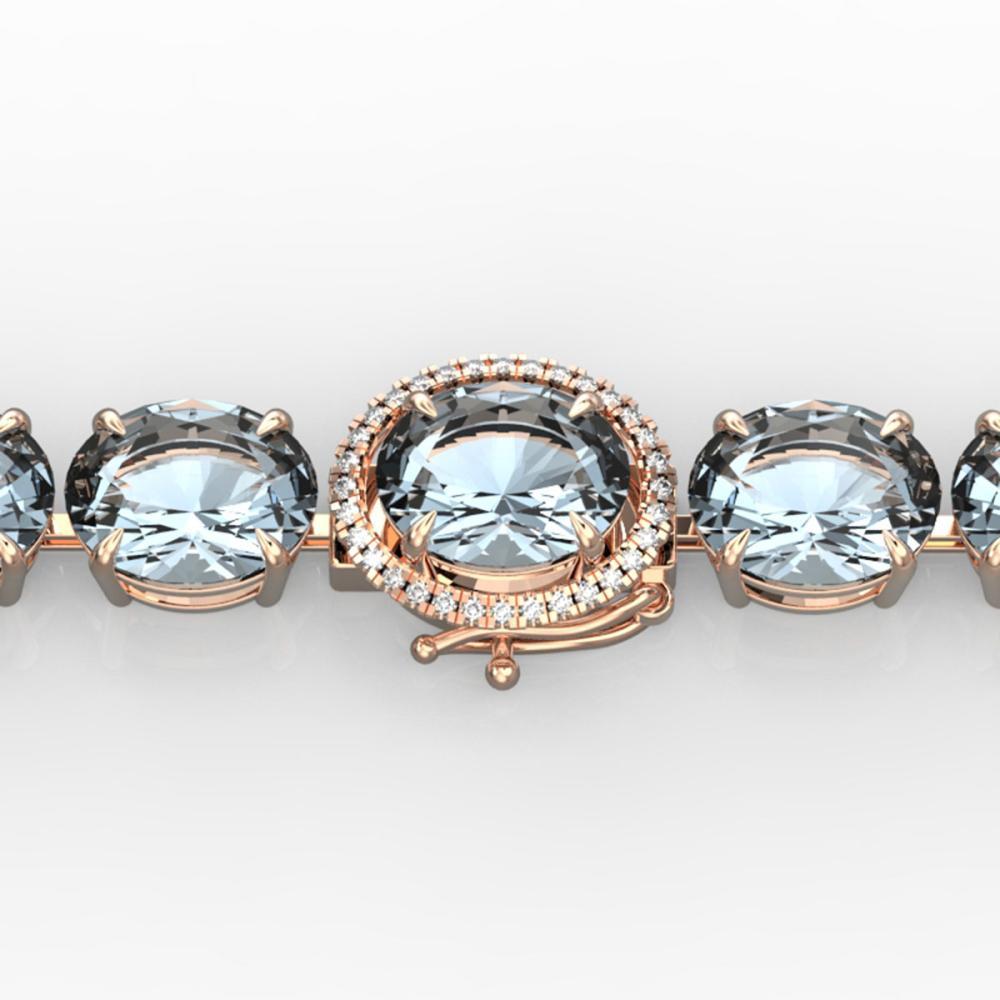 60 ctw Aquamarine & Diamond Bracelet 14K Rose Gold - REF-616N7A - SKU:22251