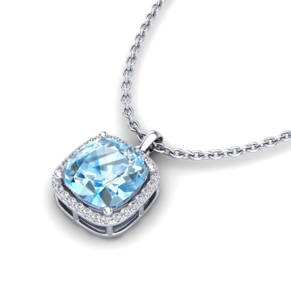 6 ctw Sky Blue Topaz & VS/SI Diamond Necklace 18K White Gold - REF-52K9W - SKU:23088