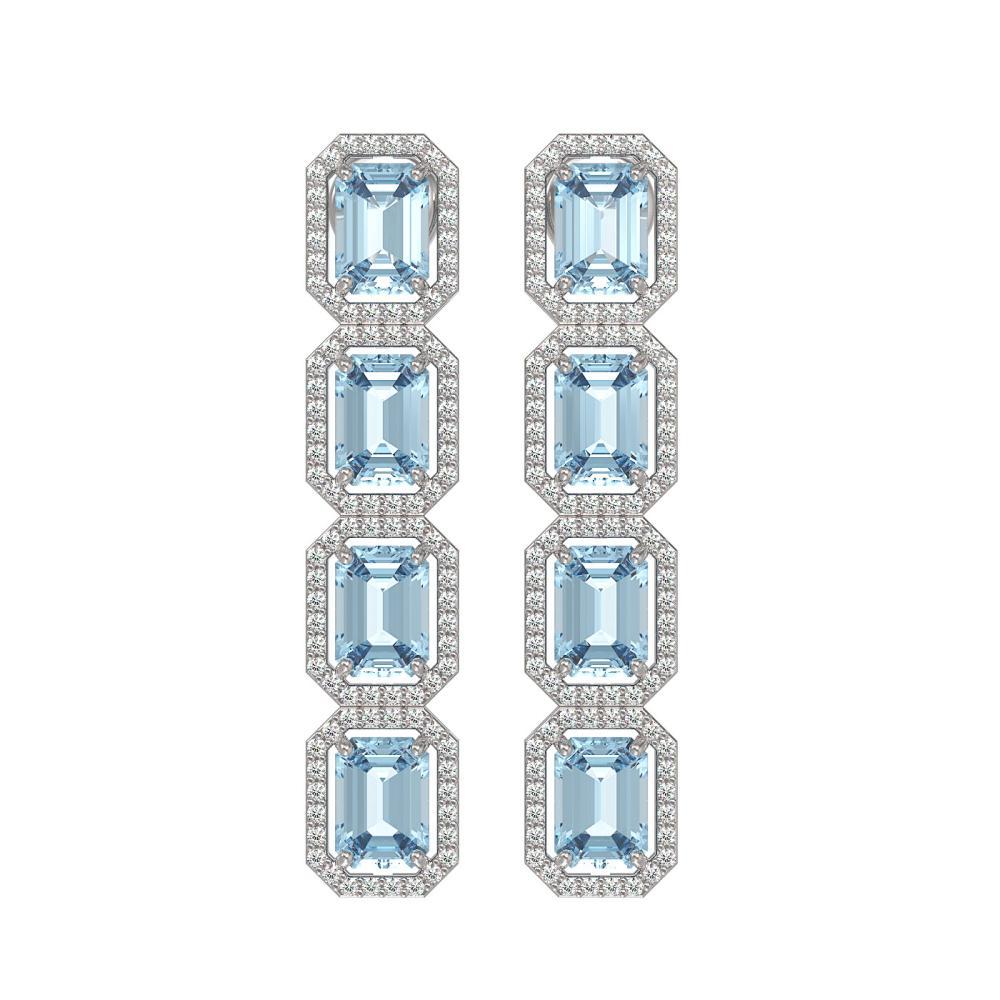 11.54 ctw Aquamarine & Diamond Halo Earrings 10K White Gold - REF-193N3A - SKU:41450