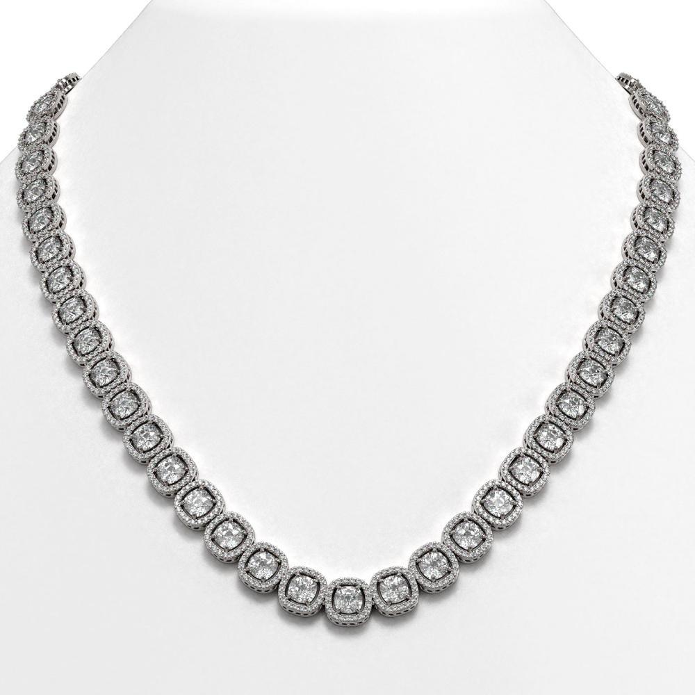 32.64 ctw Cushion Diamond Necklace 18K White Gold - REF-4475N7A - SKU:42623