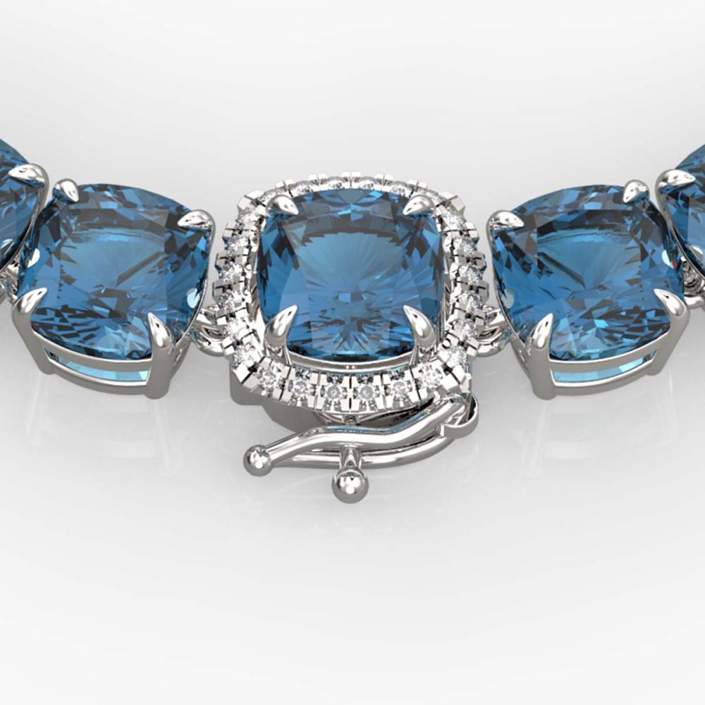 87 ctw London Blue Topaz & Diamond Necklace 14K White Gold - REF-317N6A - SKU:23367