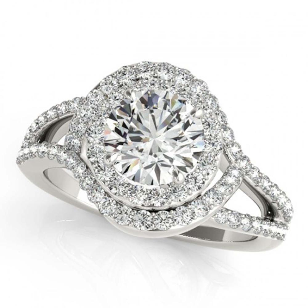 1.60 ctw VS/SI Diamond Solitaire Halo Ring 14K White Gold - REF-177N3A - SKU:24842