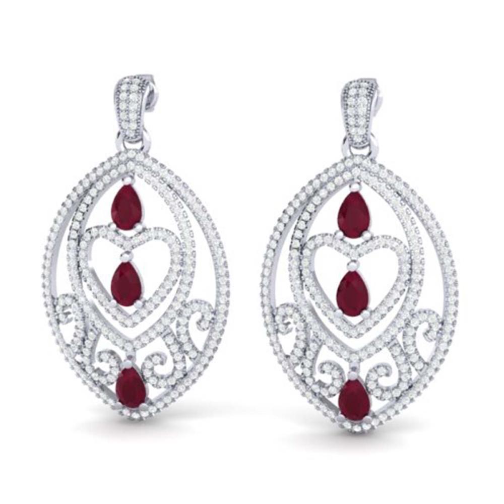 7 ctw Ruby & VS/SI Diamond Heart Earrings 18K White Gold - REF-381F8N - SKU:21158