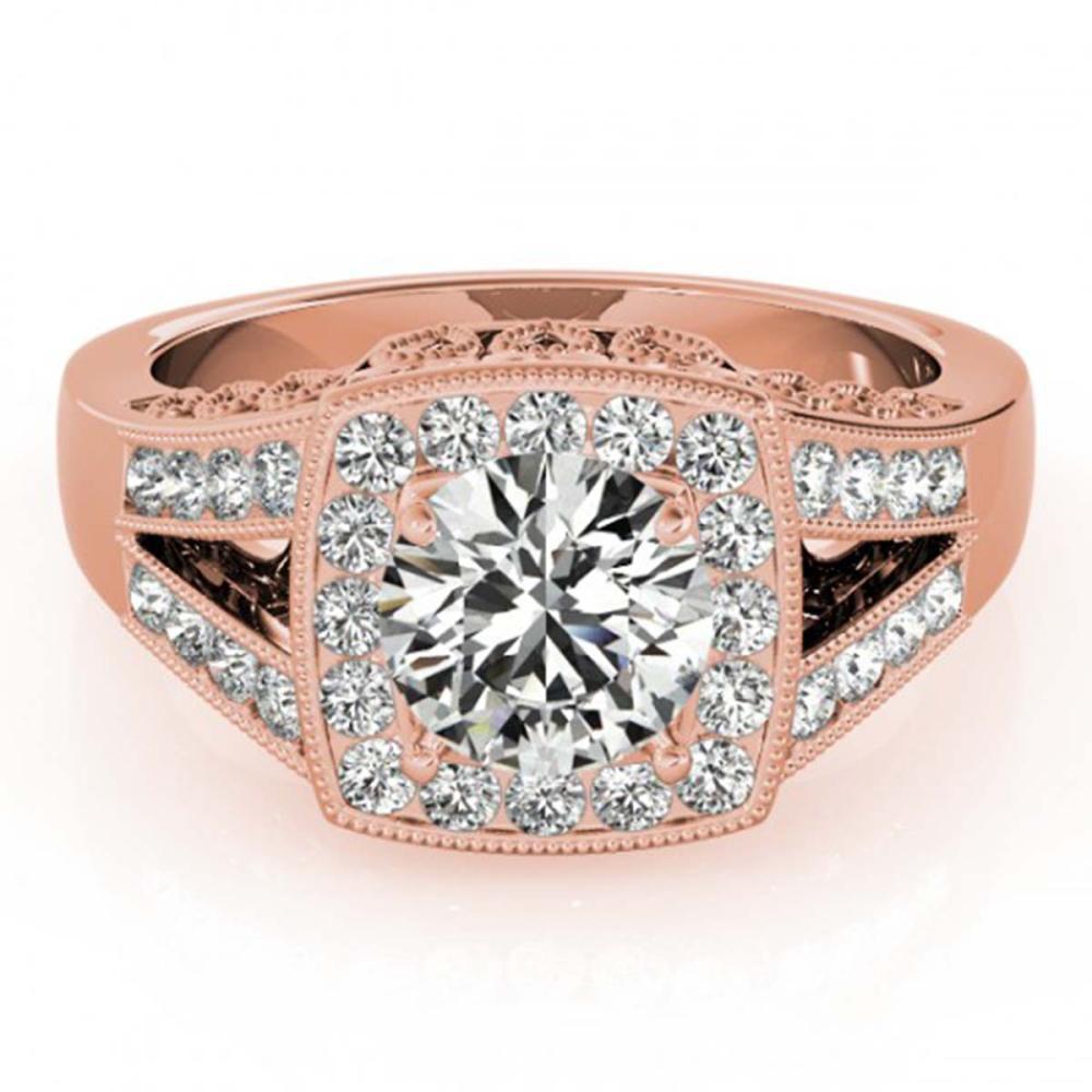 1.65 ctw VS/SI Diamond Solitaire Halo Ring 14K Rose Gold - REF-431F7N - SKU:24876