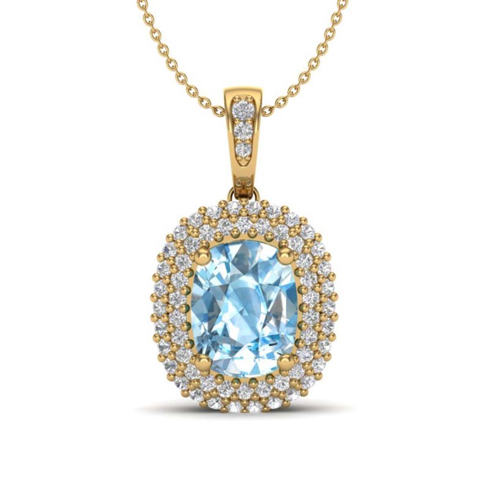 3 ctw Blue Topaz & VS/SI Diamond Necklace 10K Yellow Gold - REF-65N5A - SKU:20406