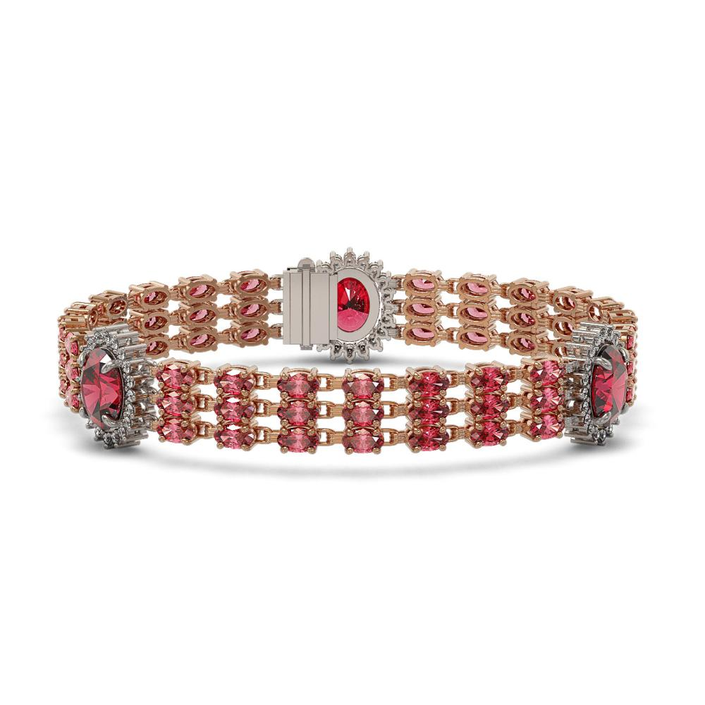 29.33 ctw Tourmaline & Diamond Bracelet 14K Rose Gold - REF-321Y3X - SKU:45270