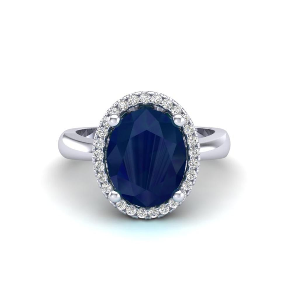3 ctw Sapphire And VS/SI Diamond Ring 18K White Gold - REF-60N2A - SKU:21114