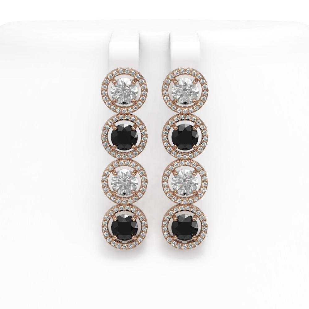5.58 ctw Black & Diamond Earrings 18K Rose Gold - REF-436K2W - SKU:42612