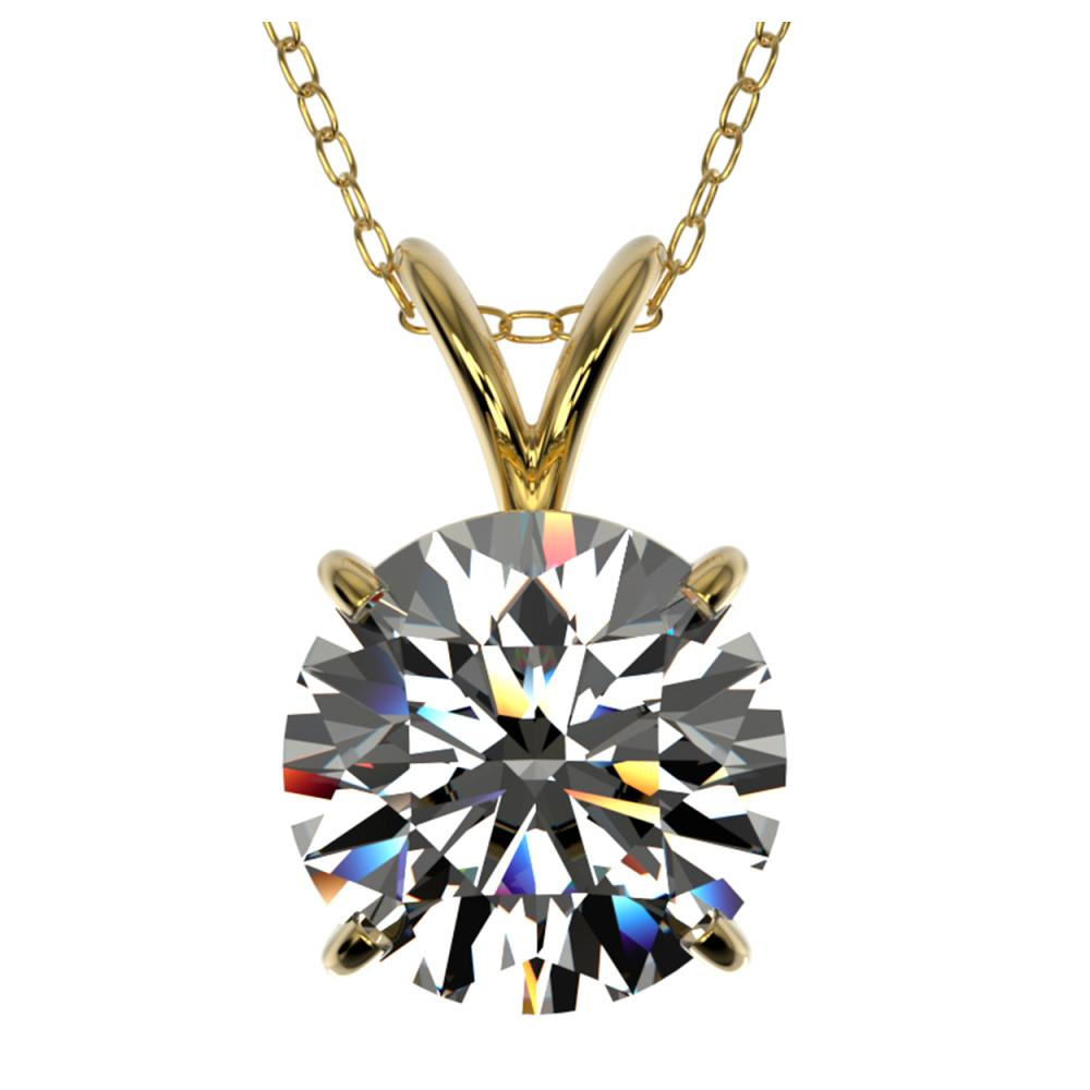 2 ctw H-SI/I Diamond Solitaire Necklace 10K Yellow Gold - REF-585N2A - SKU:33232