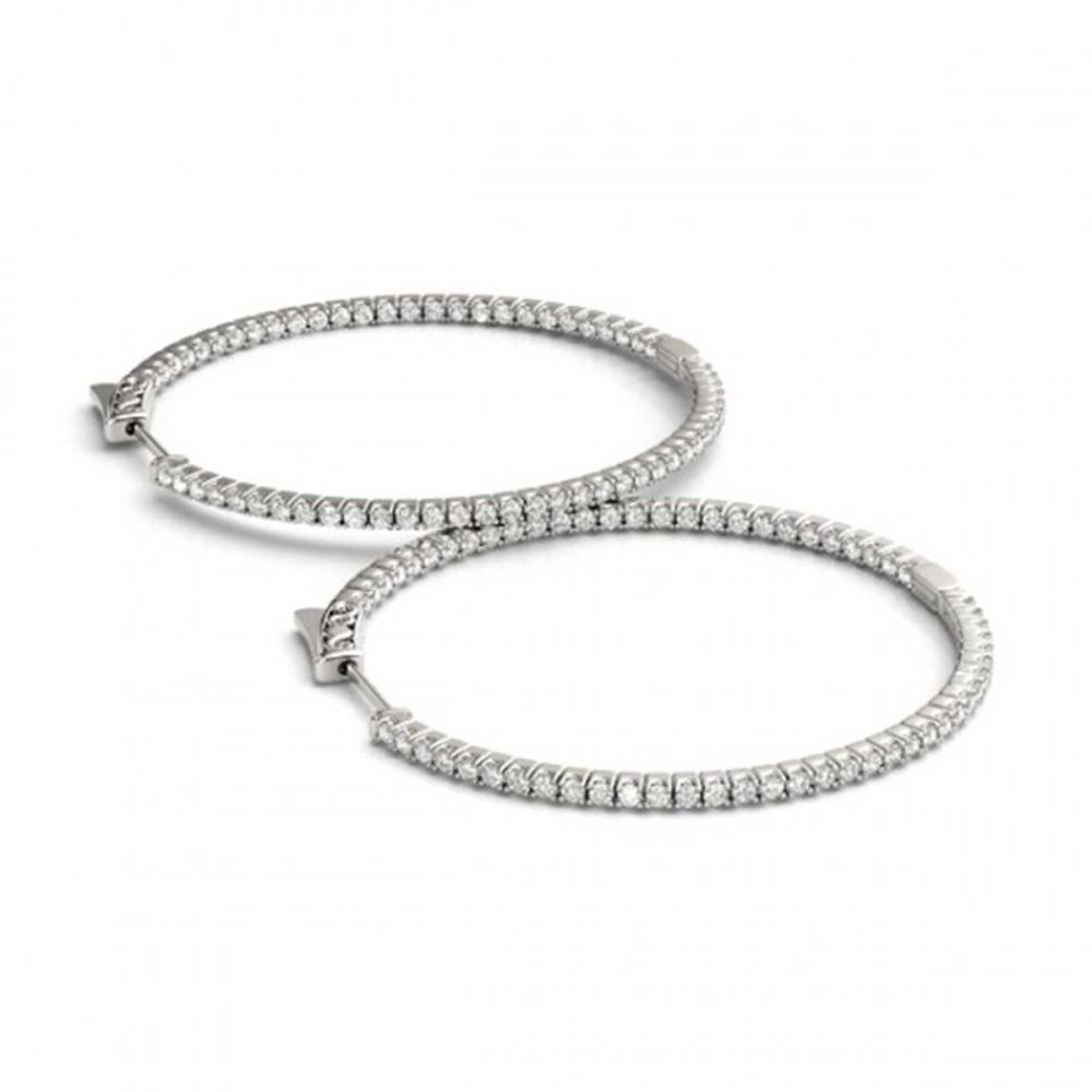 3.5 ctw Diamond VS/SI 57 mm Hoop Earrings 14K White Gold - REF-261W5H - SKU:28999