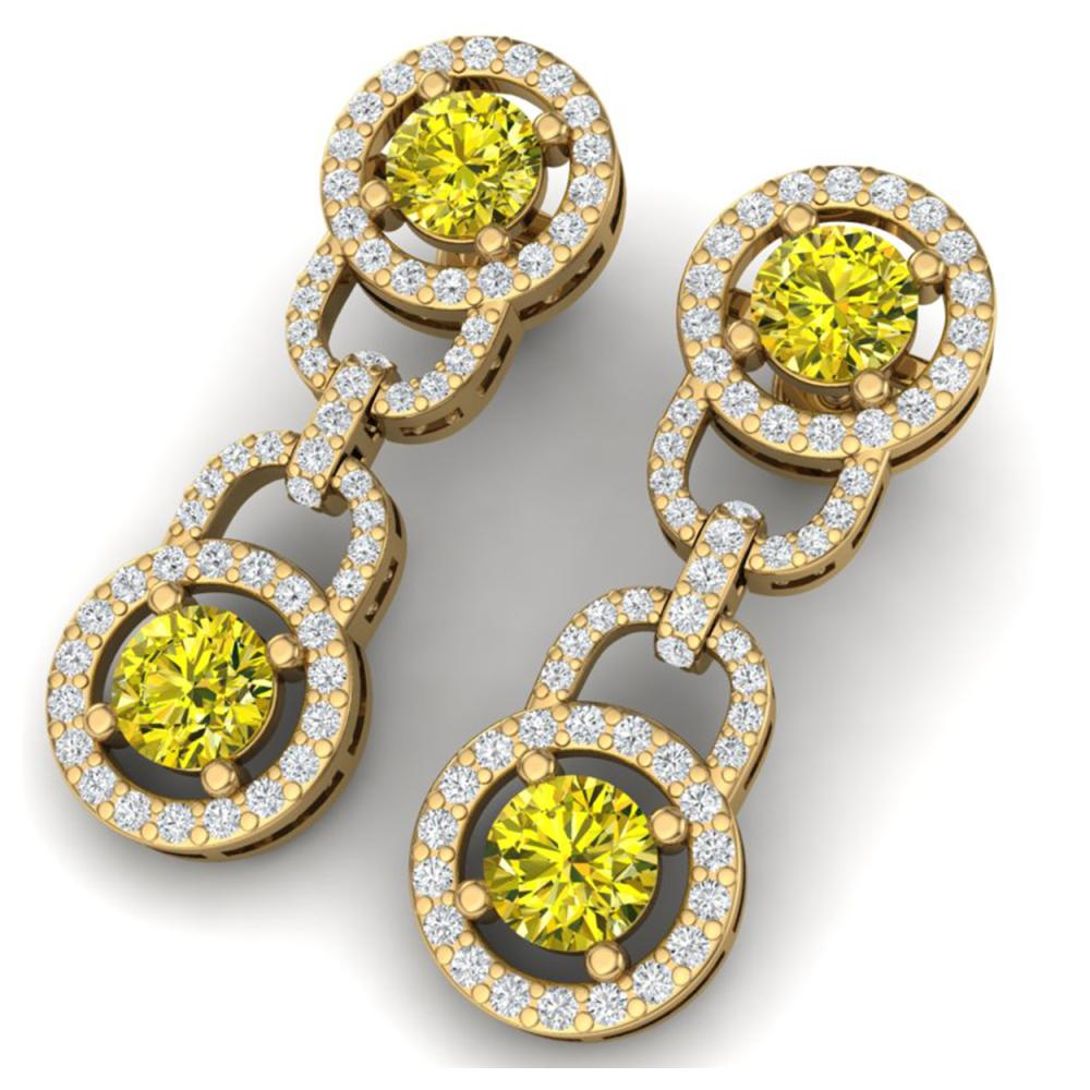 4 ctw SI/I Fancy Yellow And White Diamond Earrings 18K Yellow Gold - REF-390A2V - SKU:40111