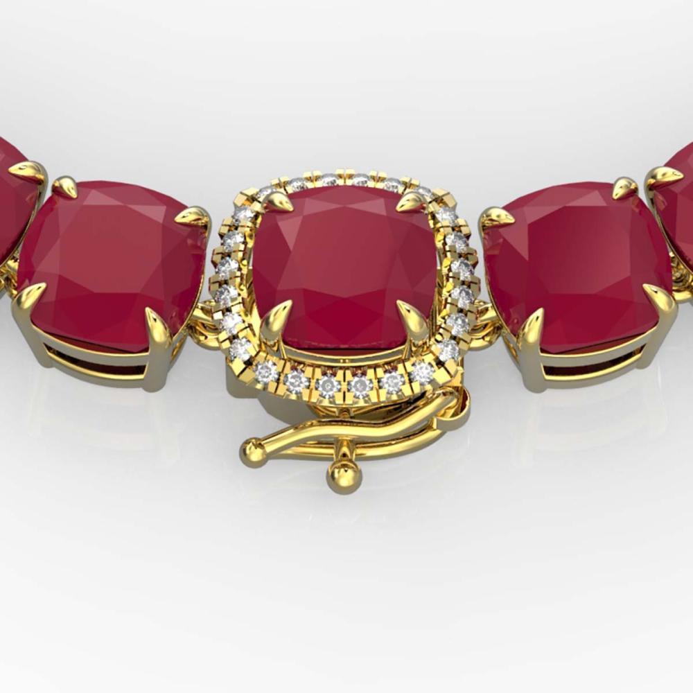 116 ctw Ruby & Diamond Necklace 14K Yellow Gold - REF-581W8H - SKU:23360