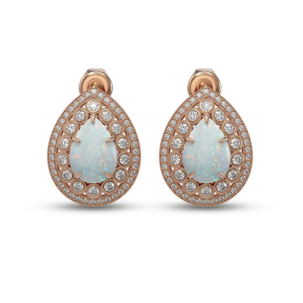 7.88 ctw Opal & Diamond Earrings 14K Rose Gold - REF-244M2F - SKU:43191