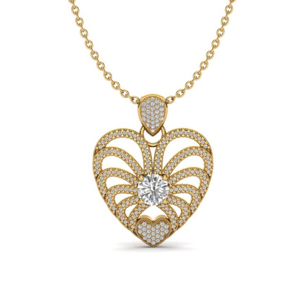 3 ctw VS/SI Diamond Heart Necklace 14K Yellow Gold - REF-739F2N - SKU:20506