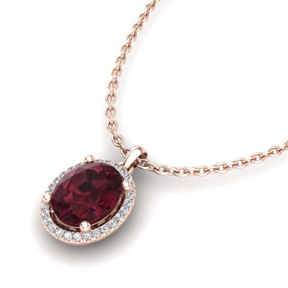 2.50 ctw Garnet & VS/SI Diamond Necklace 14K Rose Gold - REF-39W5H - SKU:21080