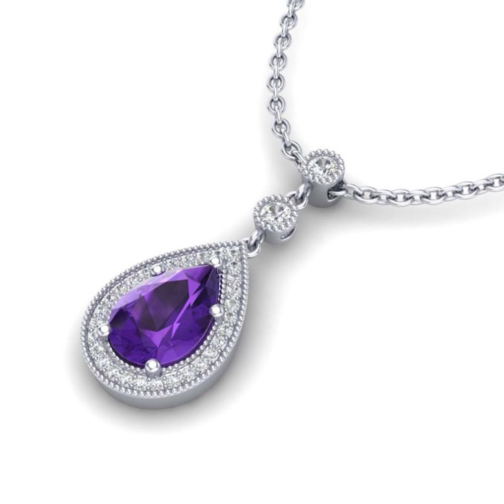 2.25 ctw Amethyst & VS/SI Diamond Necklace 18K White Gold - REF-46V2Y - SKU:23127