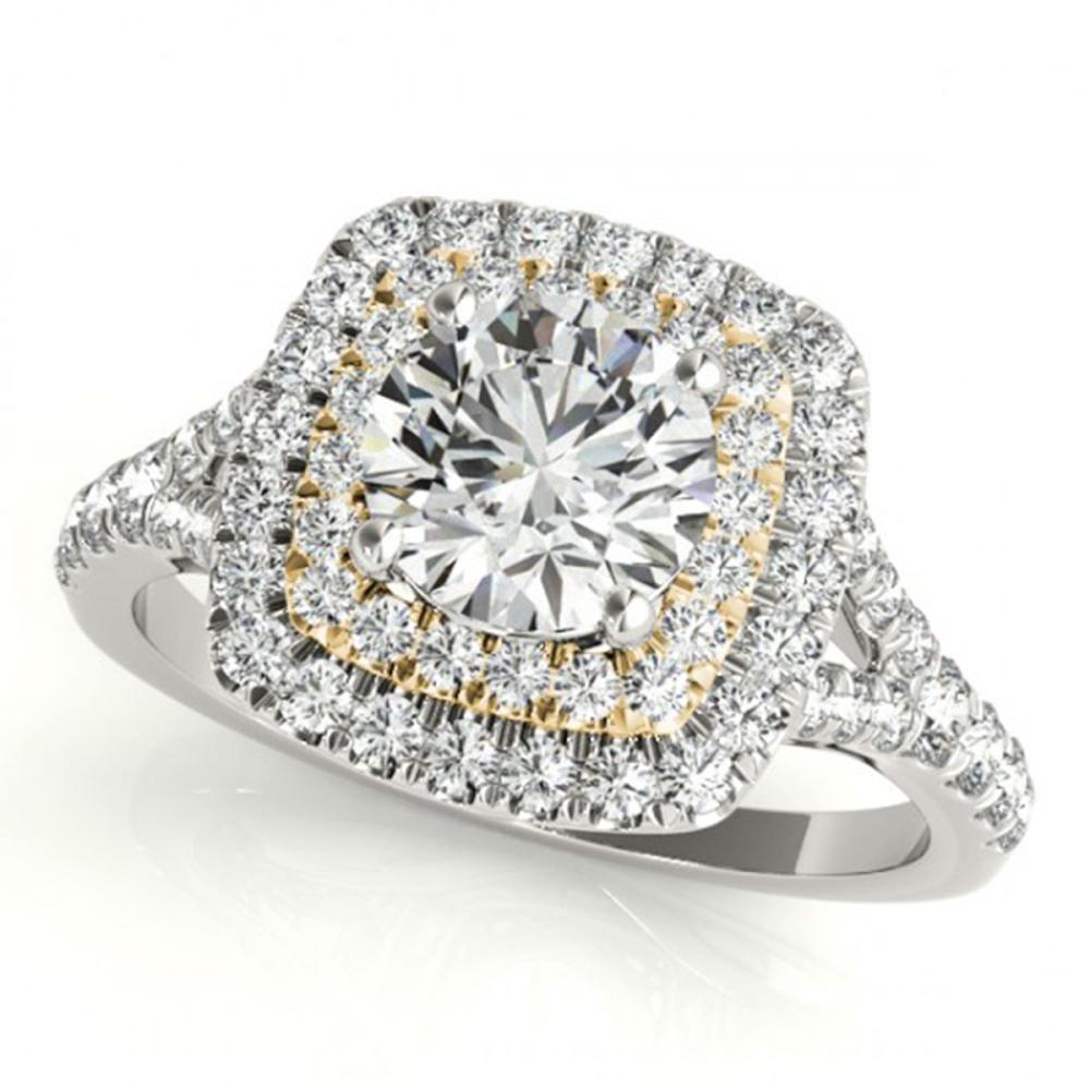1.45 ctw VS/SI Diamond Solitaire Halo Ring 14K White & Yellow Gold - REF-154M4F - SKU:24087