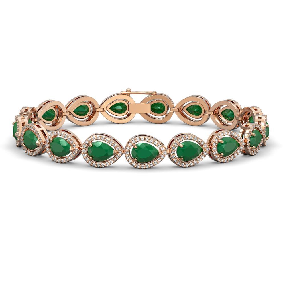 21.69 ctw Emerald & Diamond Halo Bracelet 10K Rose Gold - REF-336M4F - SKU:41091