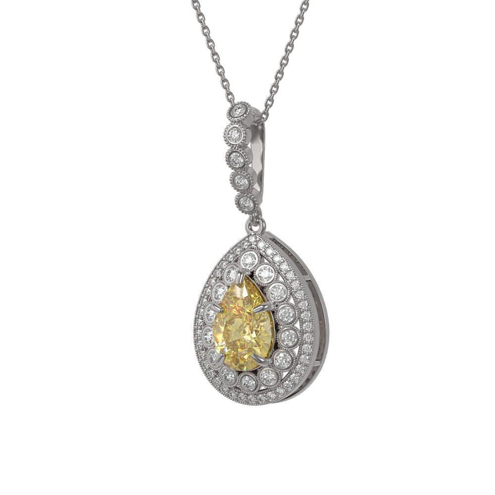 4.17 ctw Canary Citrine & Diamond Necklace 14K White Gold - REF-127W3H - SKU:43214