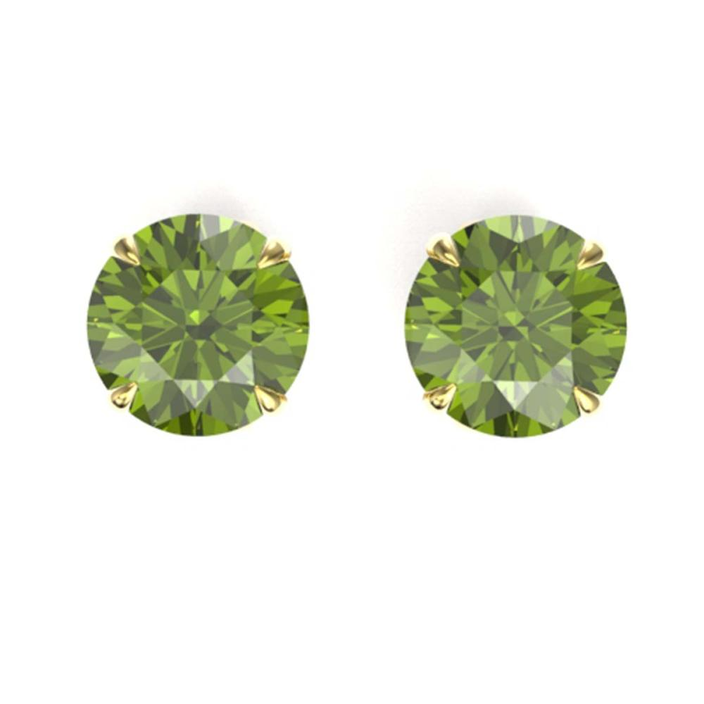 4 ctw Green Tourmaline Solitaire Stud Earrings 18K Yellow Gold - REF-47V5Y - SKU:21827