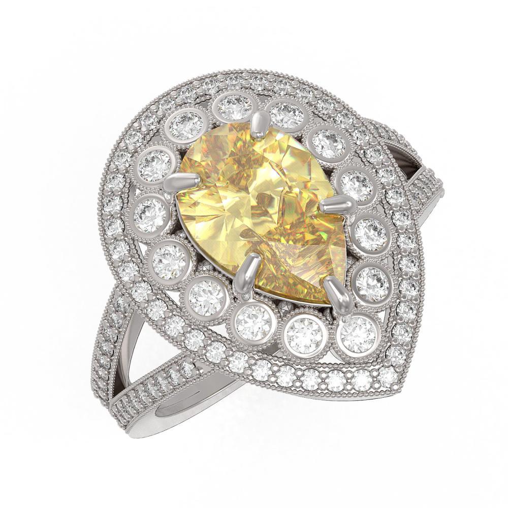 4.12 ctw Canary Citrine & Diamond Ring 14K White Gold - REF-136X2R - SKU:43133