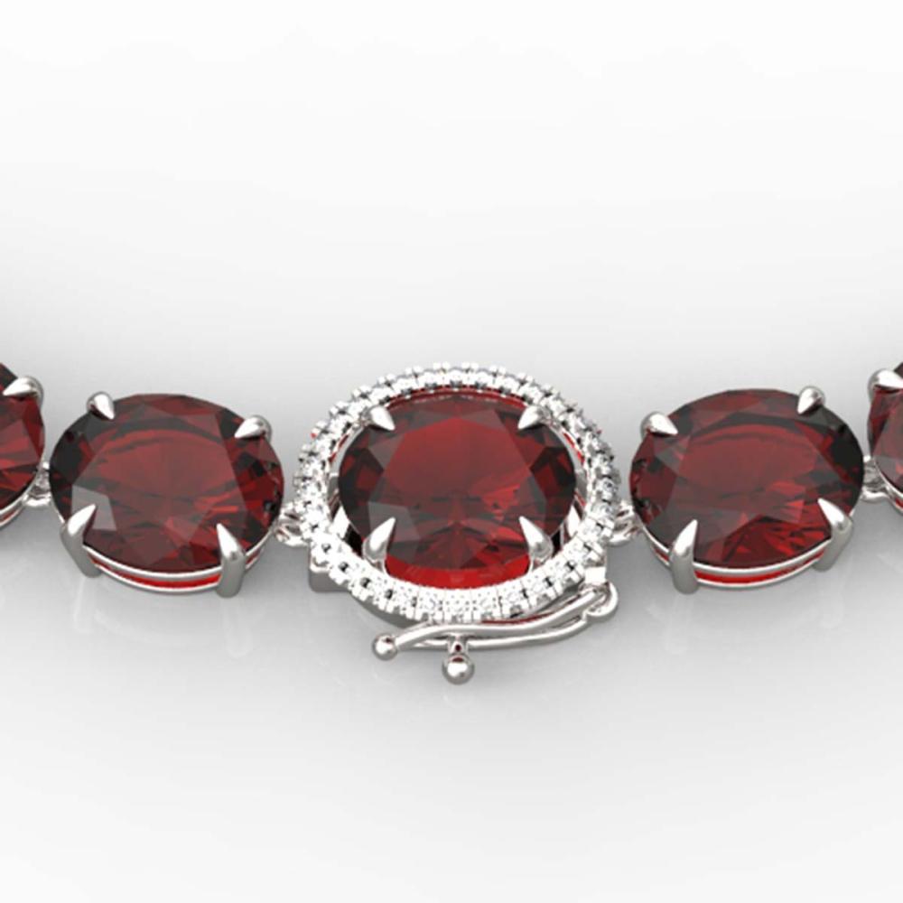 145 ctw Garnet & VS/SI Diamond Halo Necklace 14K White Gold - REF-455F6N - SKU:22297