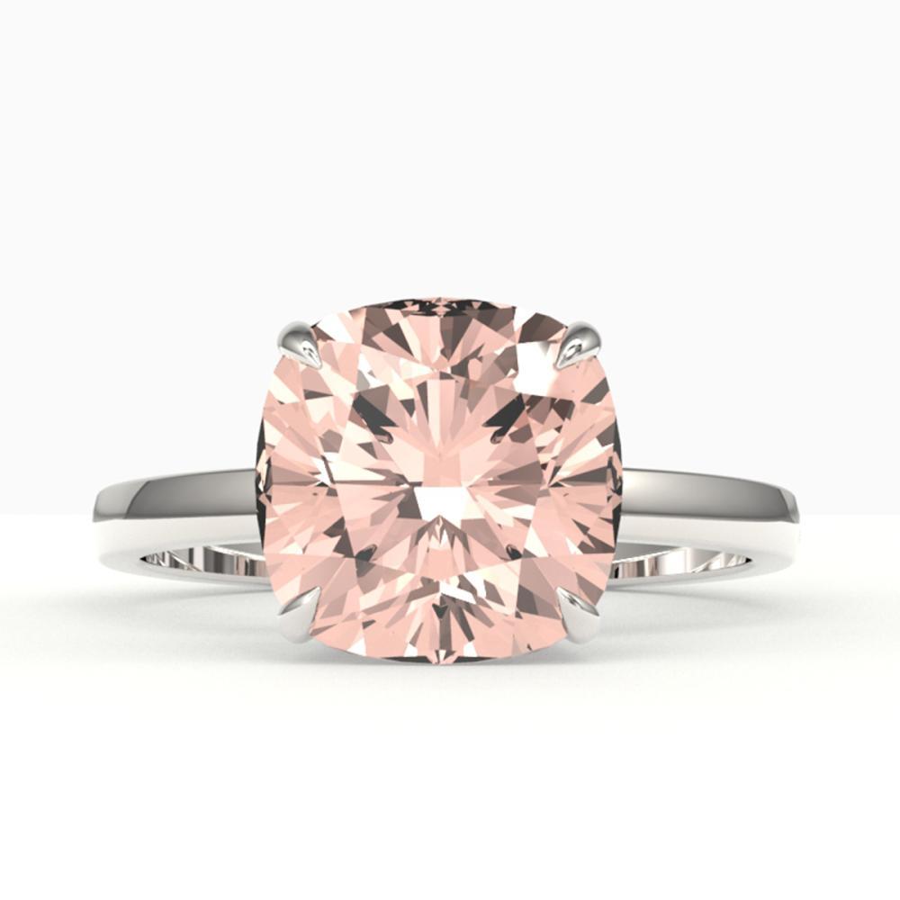 5 ctw Cushion Cut Morganite Stud Ring 18K White Gold - REF-84H5M - SKU:22192