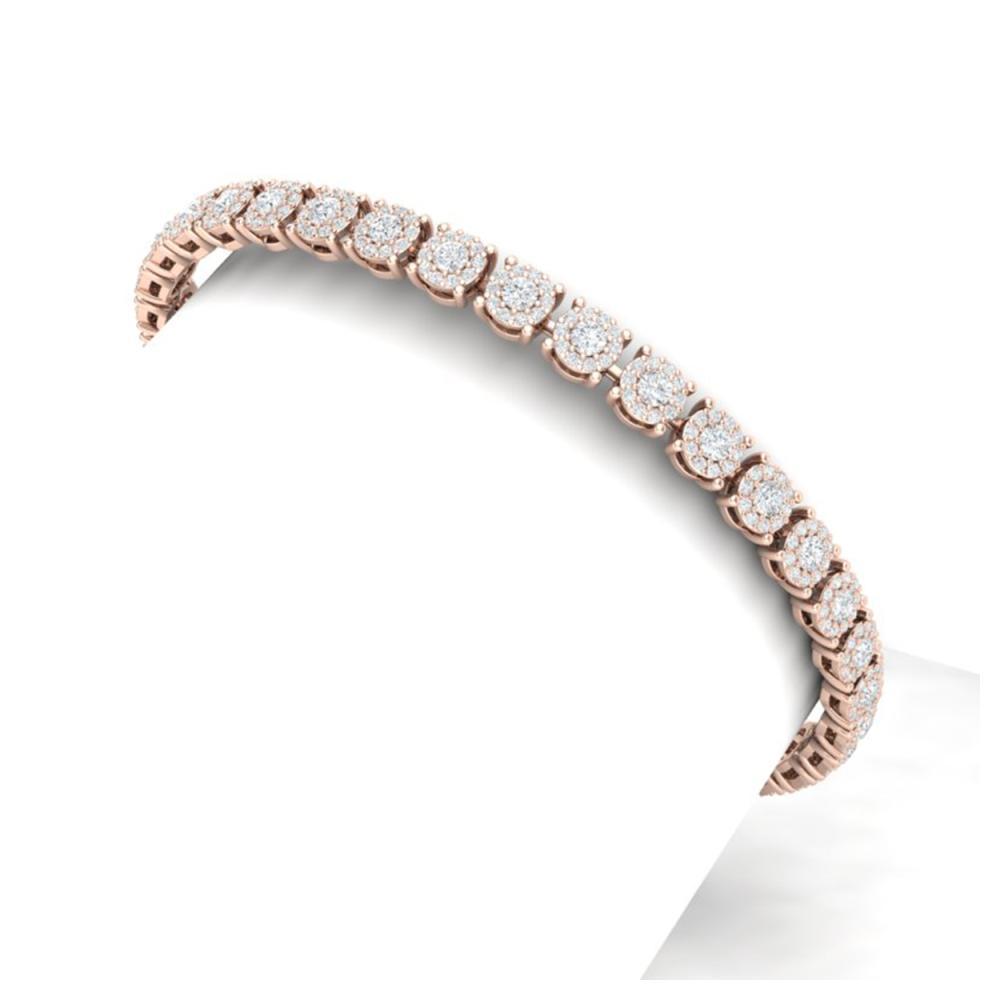 5 ctw SI/I Diamond Halo Bracelet 18K Rose Gold - REF-360V2Y - SKU:40167