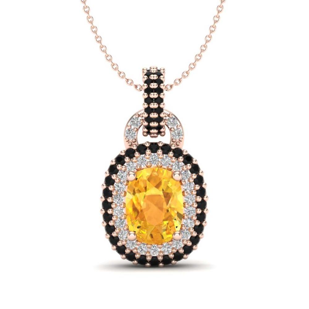 2.50 ctw Citrine With Black Diamond Necklace 14K Rose Gold - REF-68V2Y - SKU:20423