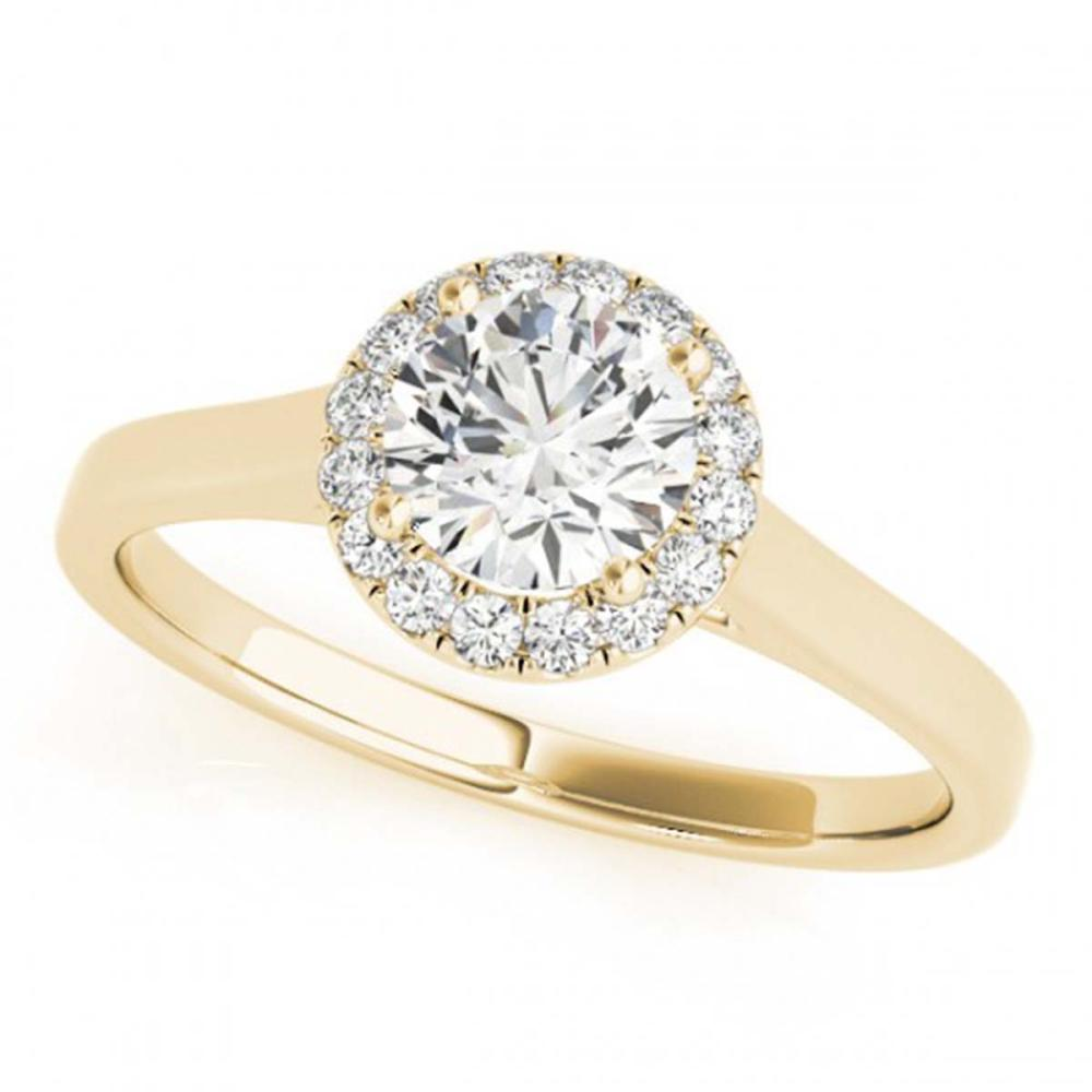 0.85 ctw VS/SI Diamond Solitaire Halo Ring 14K Yellow Gold - REF-137A3V - SKU:24440