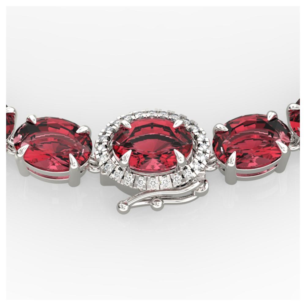 35.25 ctw Pink Tourmaline & Diamond Necklace 14K White Gold - REF-418K2W - SKU:40278