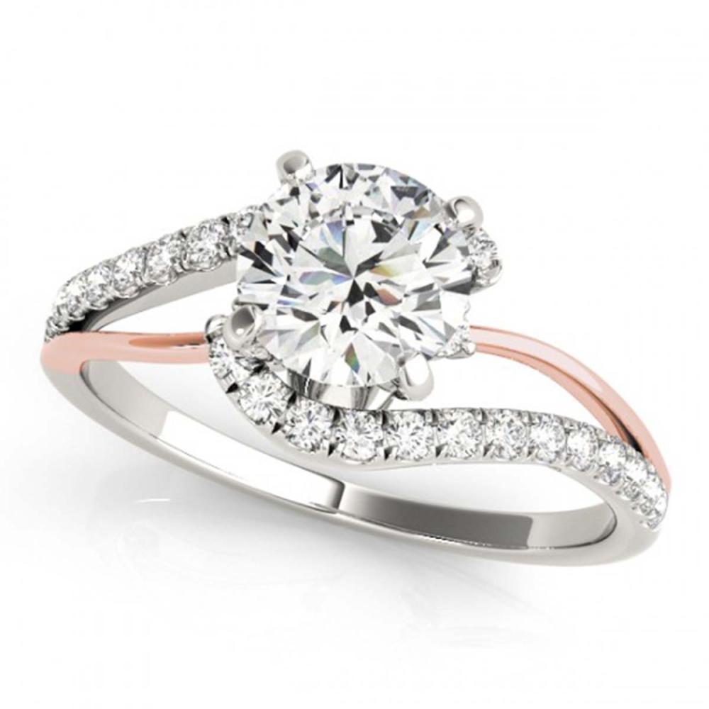 0.85 ctw VS/SI Diamond Bypass Solitaire Ring 14K White & Rose Gold - REF-83K4W - SKU:25559