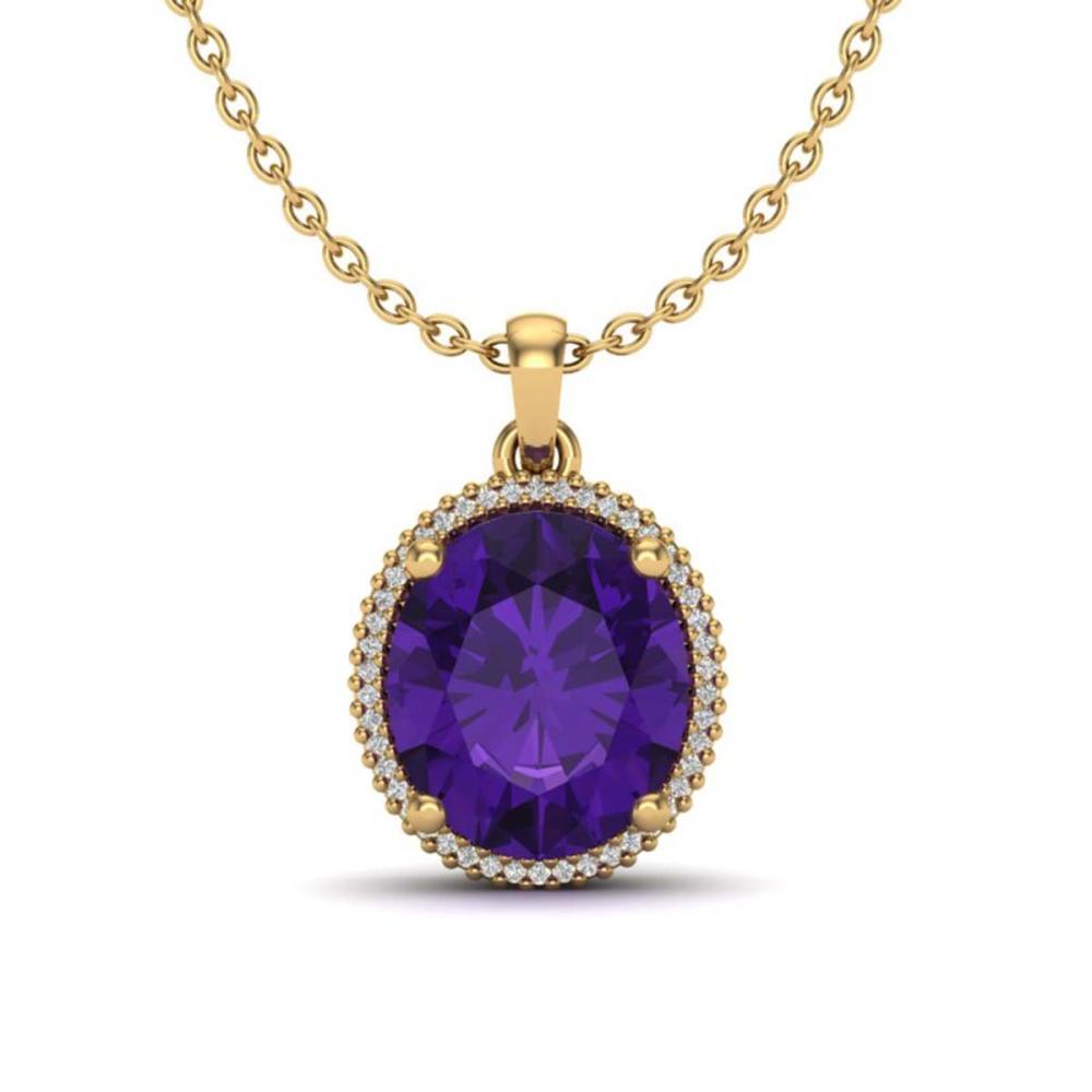 10 ctw Amethyst & VS/SI Diamond Necklace 18K Yellow Gold - REF-78R2K - SKU:20602