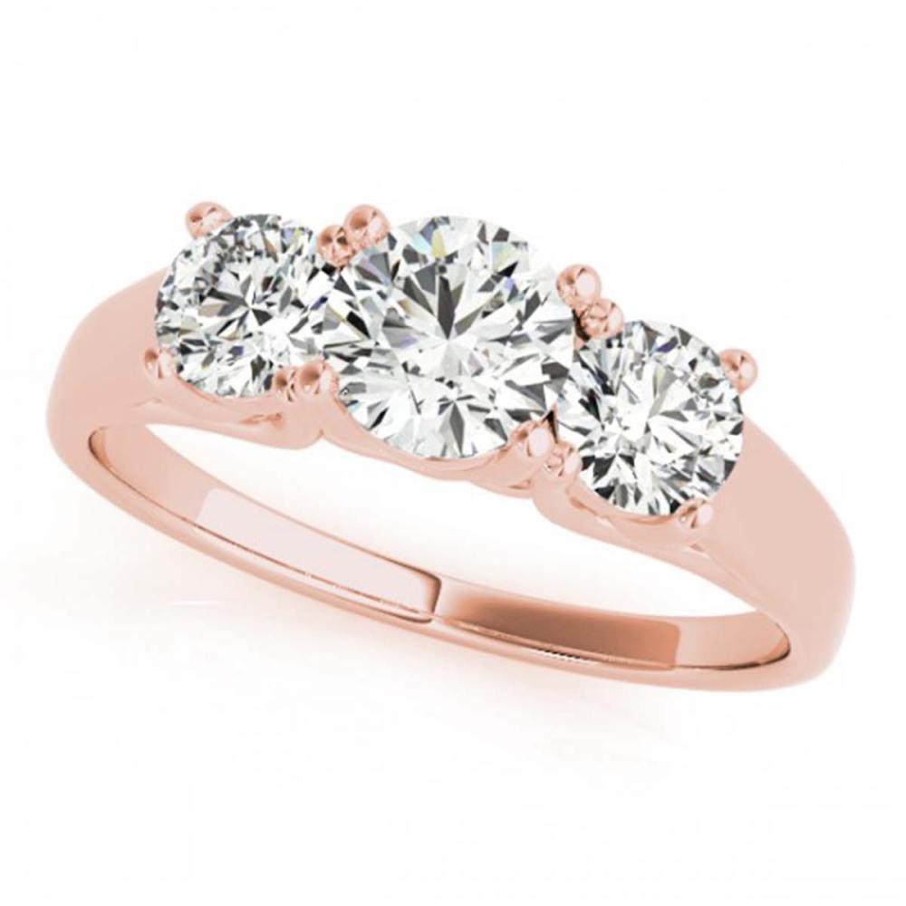 1.50 ctw VS/SI Diamond 3 Stone Ring 14K Rose Gold - REF-183A2V - SKU:25905