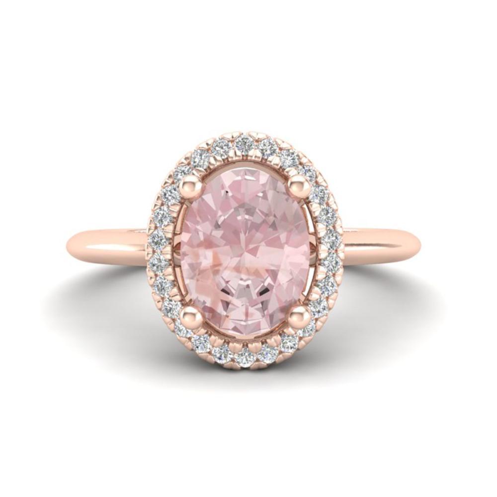 1.50 ctw Morganite & VS/SI Diamond Ring Halo 14K Rose Gold - REF-50Y4X - SKU:21014