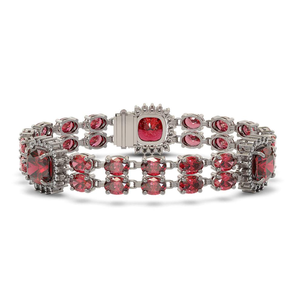 18.93 ctw Tourmaline & Diamond Bracelet 14K White Gold - REF-314K7W - SKU:44756