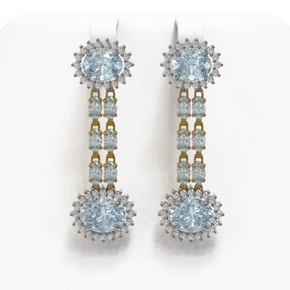9.85 ctw Sky Topaz & Diamond Earrings 14K Yellow Gold - REF-143W5H - SKU:44314