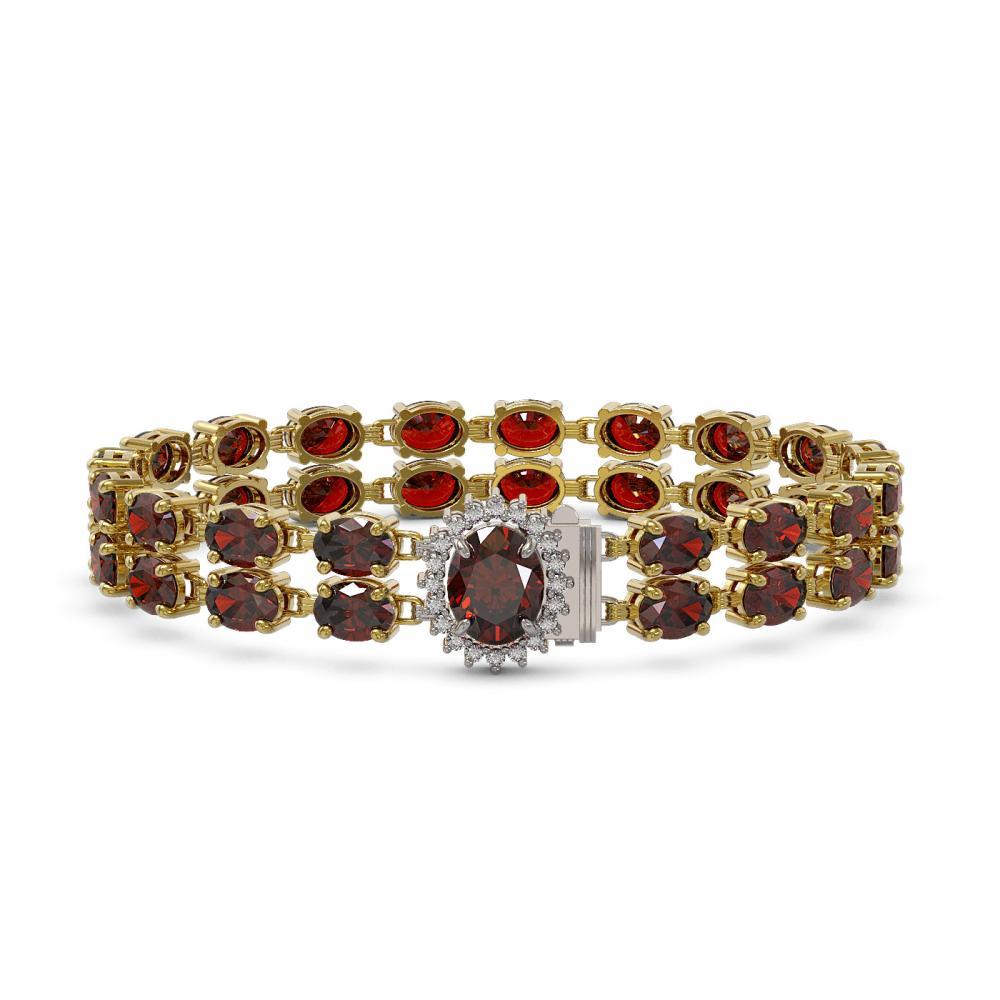 14.69 ctw Garnet & Diamond Bracelet 14K Yellow Gold - REF-125F9N - SKU:45469