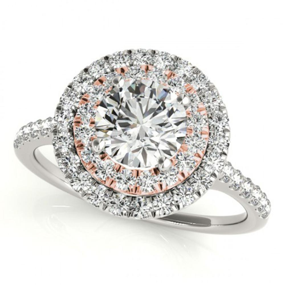 1.50 ctw VS/SI Diamond Solitaire Halo Ring 14K White & Rose Gold - REF-277V4Y - SKU:24076