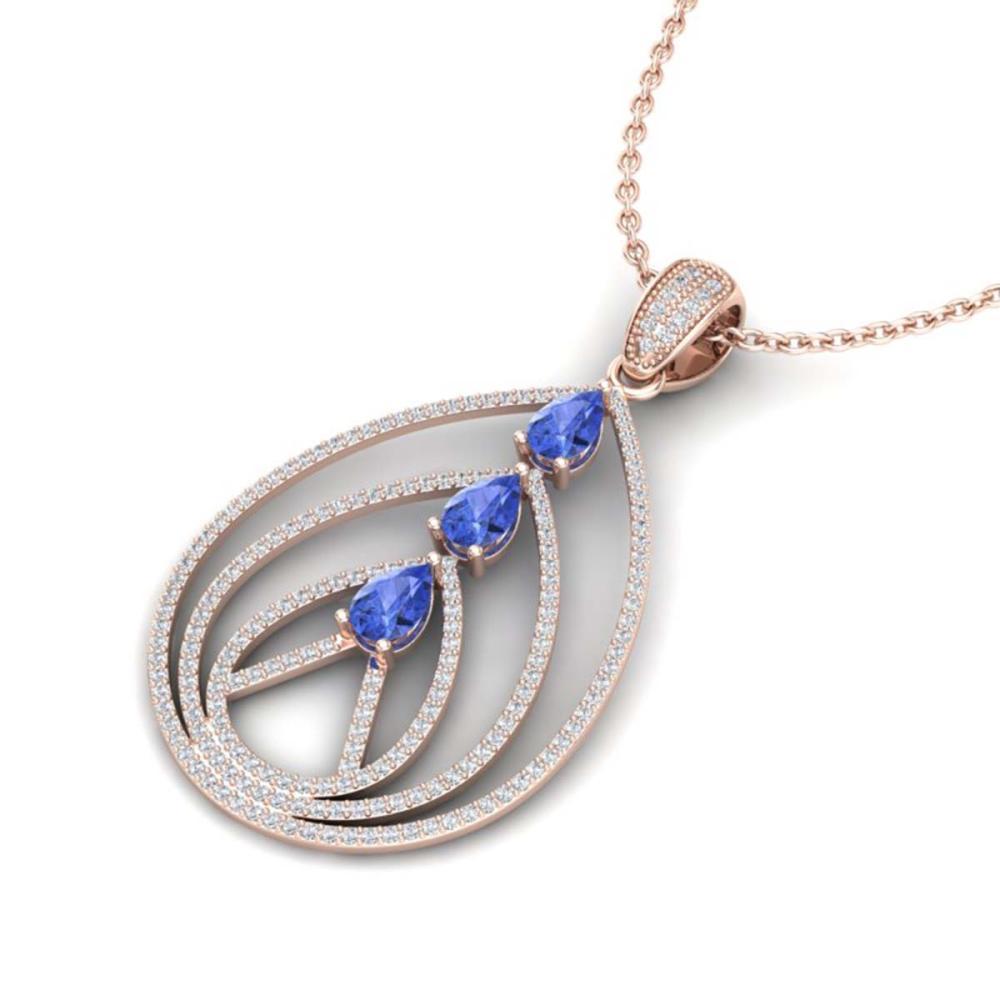 2 ctw Tanzanite & VS/SI Diamond Necklace 14K Rose Gold - REF-116A4V - SKU:22474