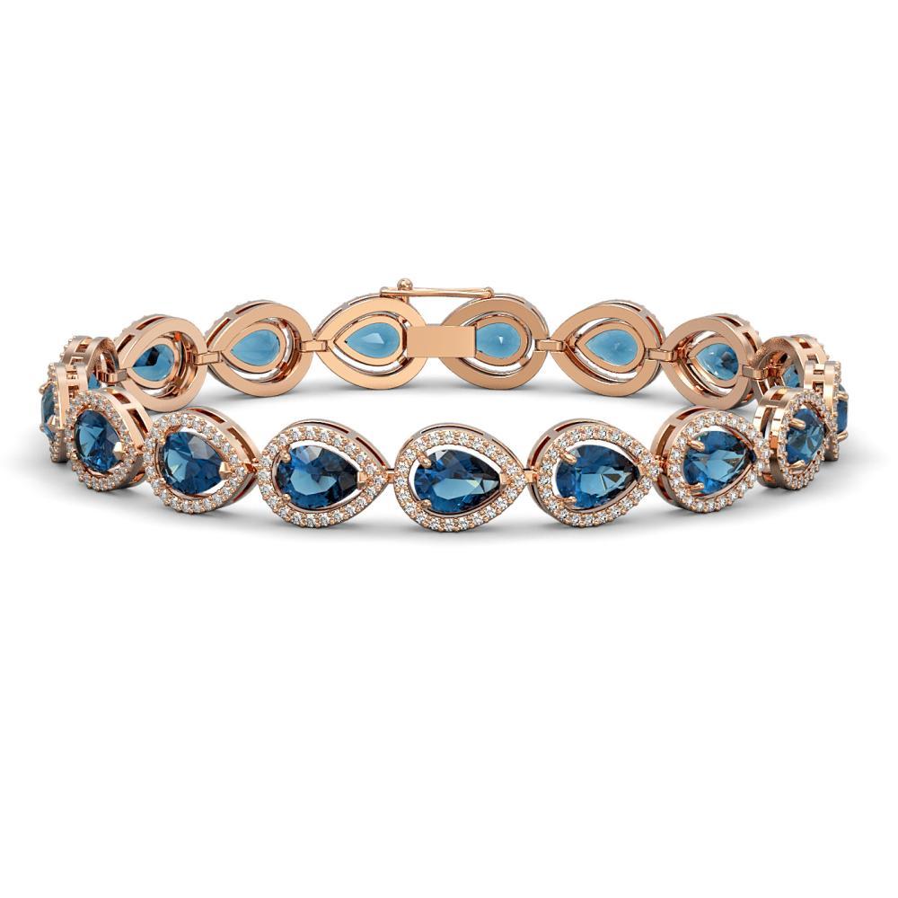 16.59 ctw London Topaz & Diamond Halo Bracelet 10K Rose Gold - REF-281A6V - SKU:41127