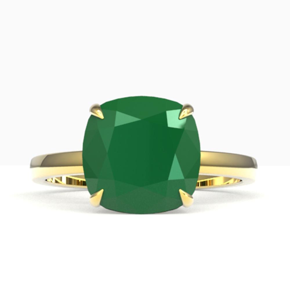 6 ctw Cushion Emerald Ring 18K Yellow Gold - REF-70M9F - SKU:22181