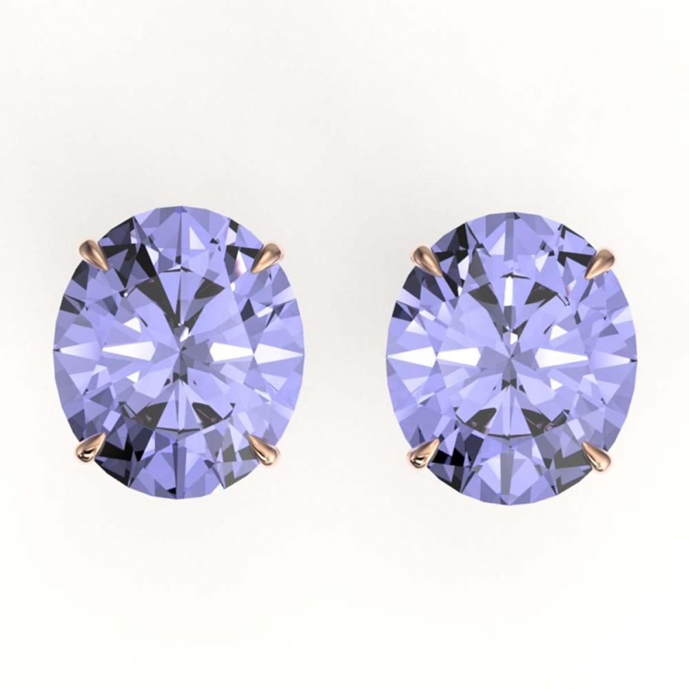 18 ctw Tanzanite Solitaire Stud Earrings 14K Rose Gold - REF-526M2F - SKU:21722